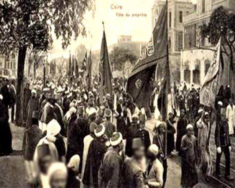 Mawlid an-Nabi SallAllaho Alaihi wa Sallam procession at Boulac Avenue in 1904 at Cairo, Egypt.